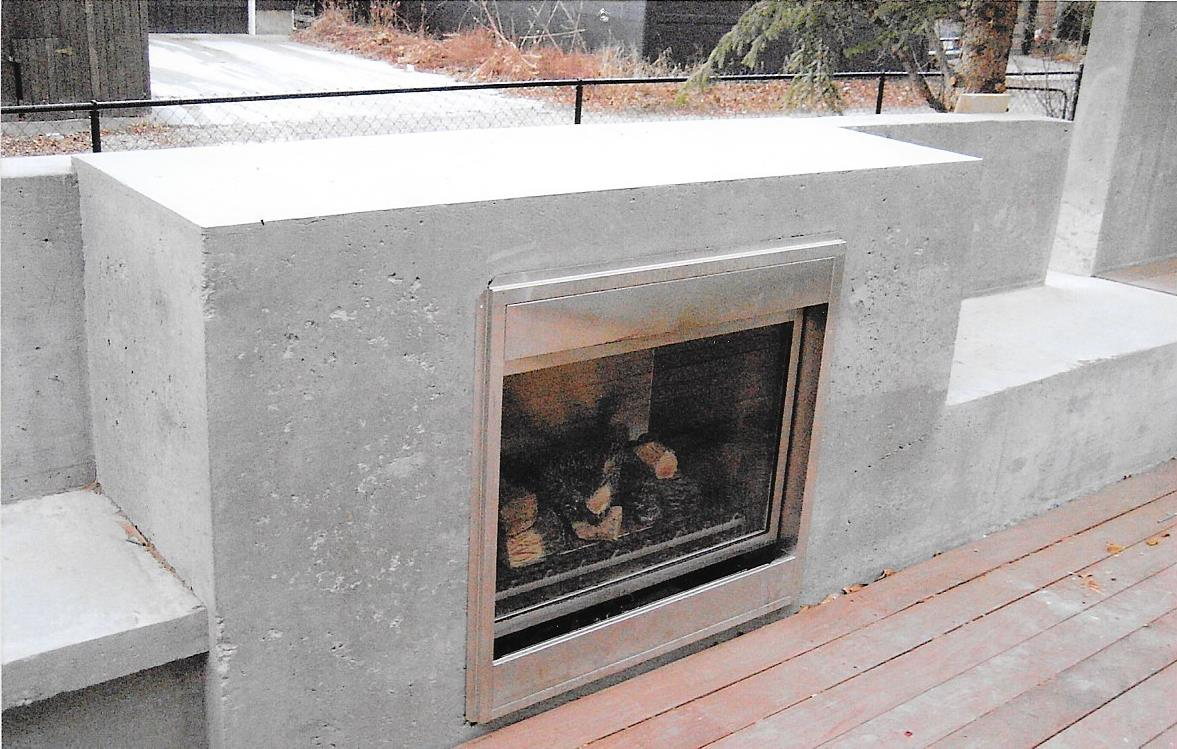outdoor concrete fireplace